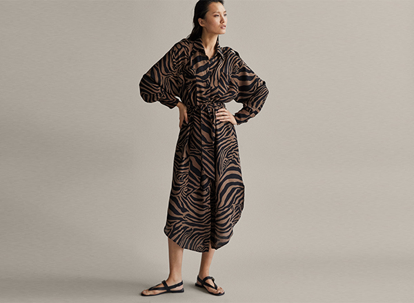 rochie cu print zebra Massimo Dutti