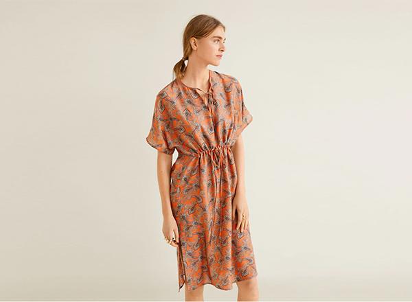 rochie orancj cu print mango