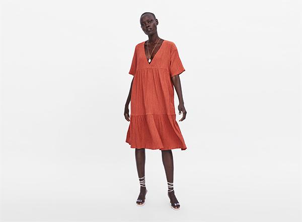 rochie oranj stins Zara