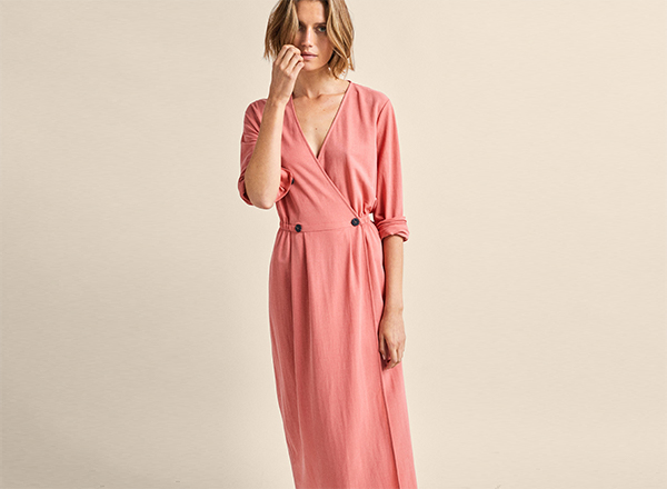 rochie roz corai Massimo Dutti