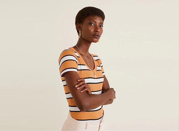 tricou cu dungi Mango