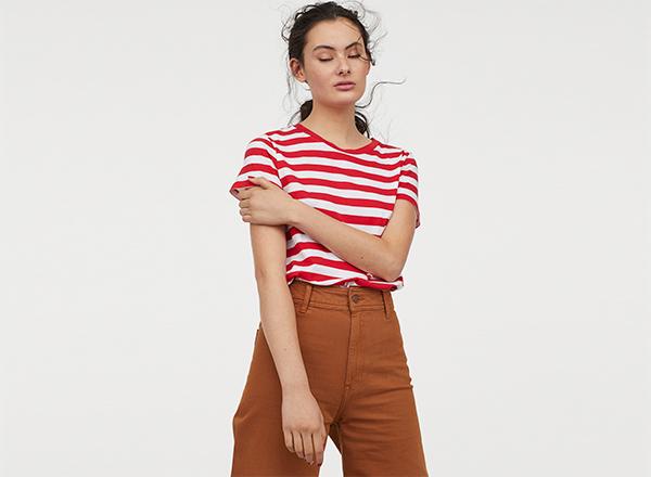 tricou cu dungi alb rosii H&M