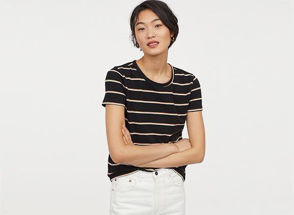 tricou negru cu dungi alb-bej H&M