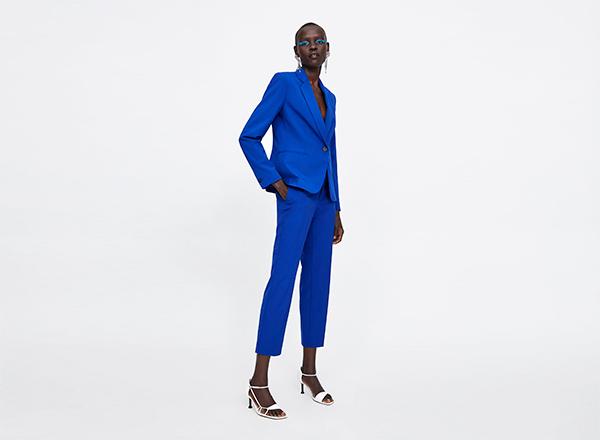 costum albastru cobalt Zara