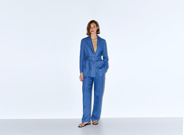 costum albastru cu cordon Zara