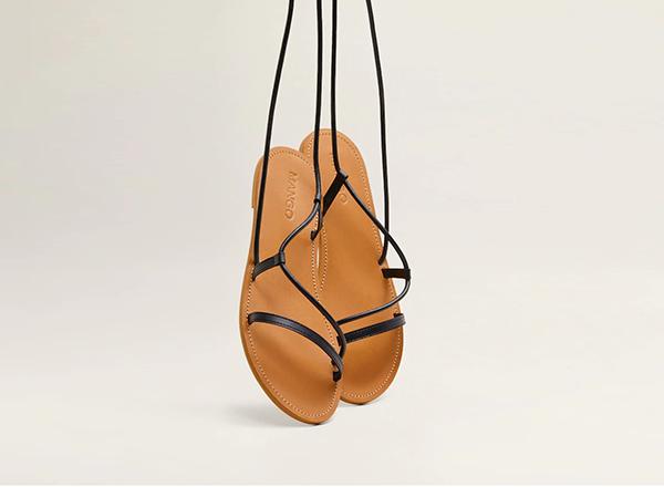 sandale gladiator cu barete fine Mango