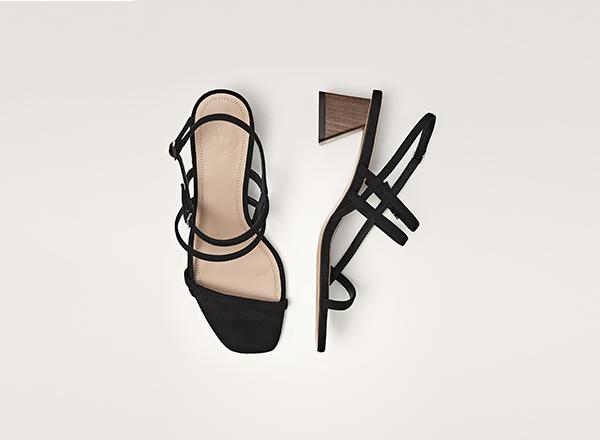 sandale negre cu toc piramidal Massimo Dutti