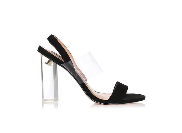 sandale negre cu toc transparent Il Passo