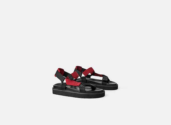 sandale sport negre cu barete rosii Zara