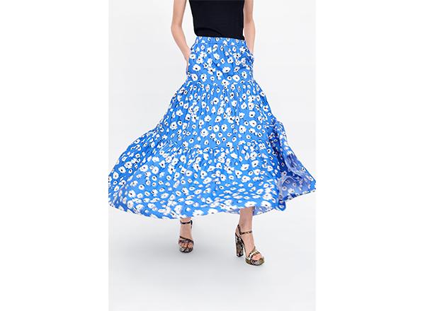 fusta maxi albastra cu flori albe Zara