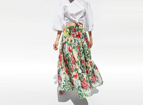 fusta maxi cu print floral Zara