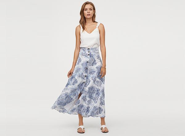 fusta maxi print albastru H&M