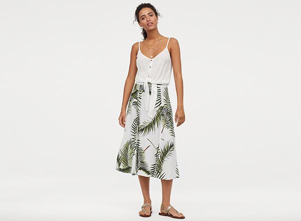 fusta midi imprimeu palmieri H&M