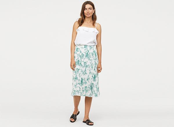 fusta midi plisata cu imprimeu verde H&M