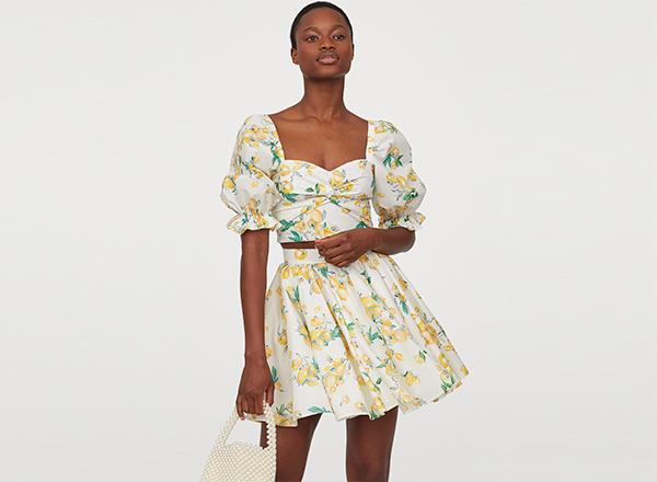 fusta mini clos cu print galben H&M