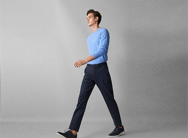 pantaloni bleumarin Massimo Dutti
