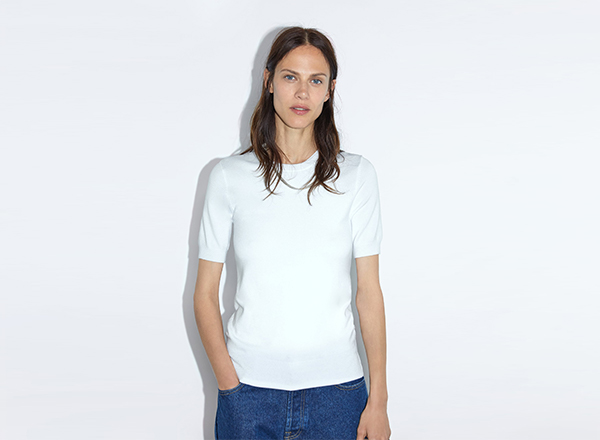 pulover tricou alb Zara