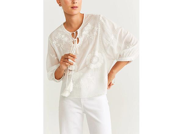 bluza bumbac alb Mango
