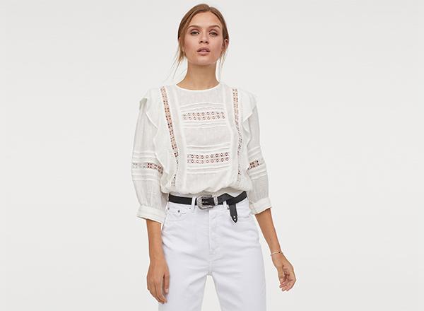 bluza din bumbac si vascoza H&M