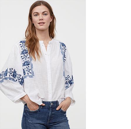 bluza ie din bumbac cu broderie albastra H&M