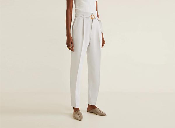 pantaloni albi mango