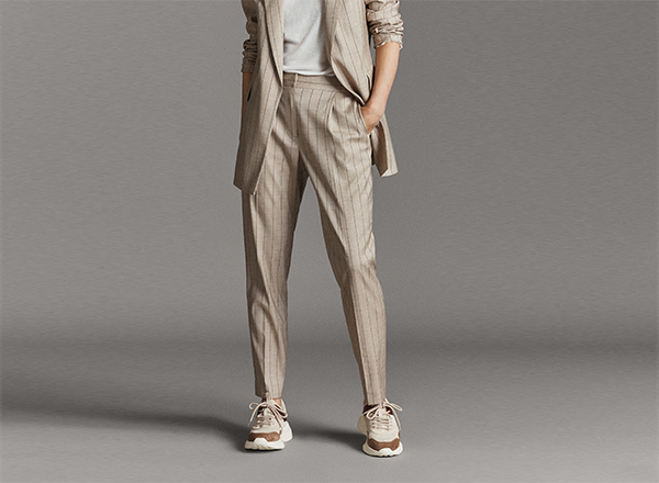 pantaloni bej cu dungi Massimo Dutti