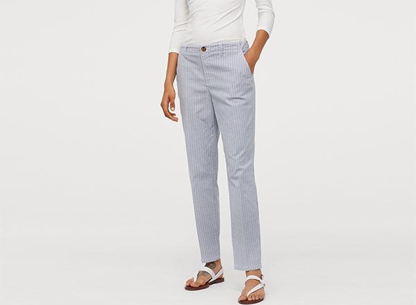 pantaloni bleu cu dungi fine H&M