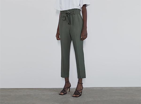 pantaloni verzi din vascoza Zara