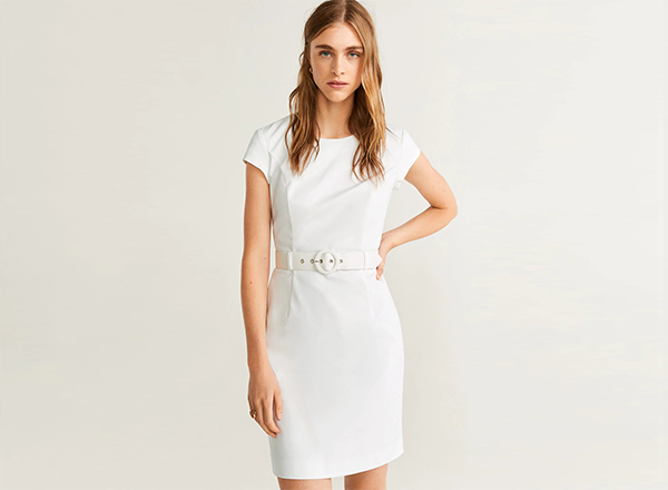 rochie alba clasica Mango