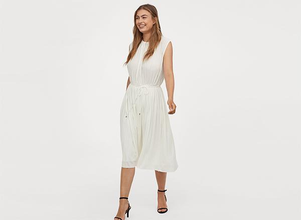 rochie alba plisata H&M