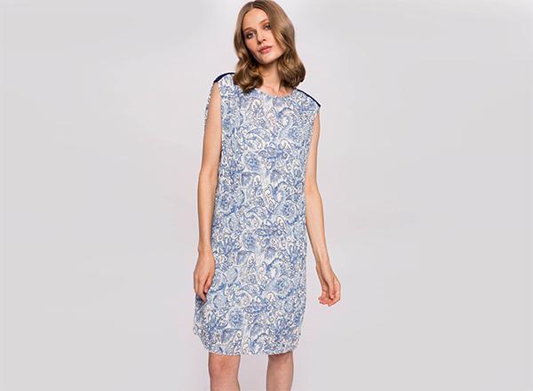 rochie cu imprimeu bleu Nissa
