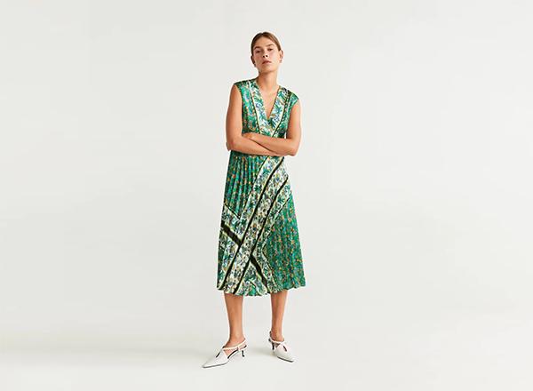 rochie cu imprimeu verde plisata Mango