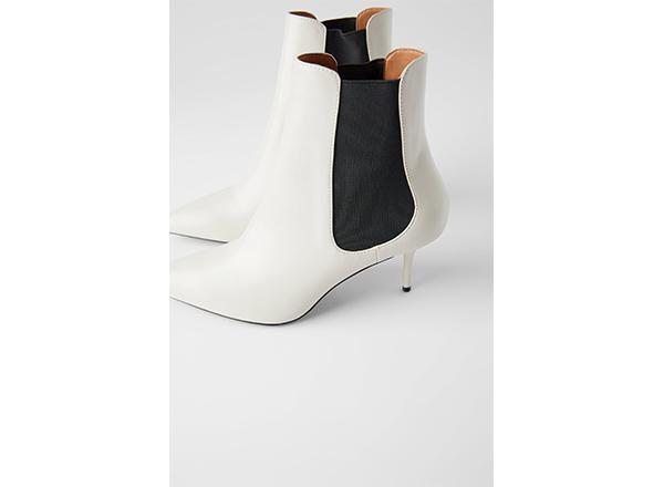 botine albe cu insertii negre din elastic Zara