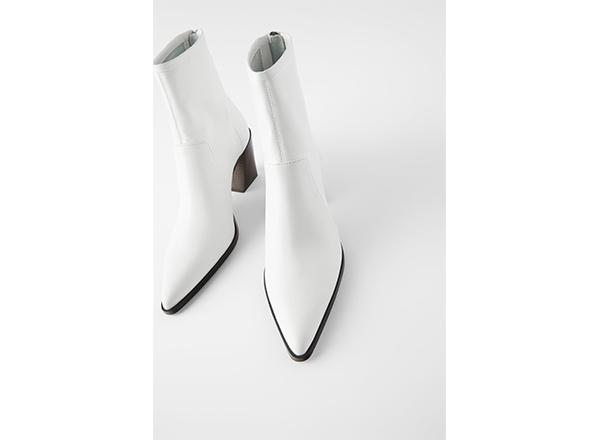 botine albe simple Zara