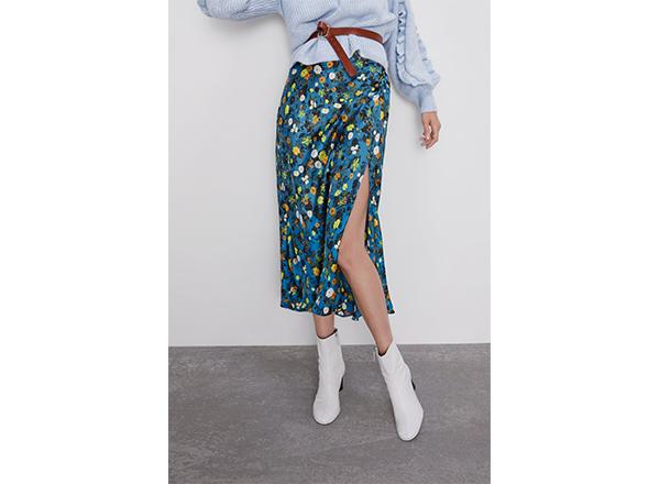 fusta cu print floral Zara