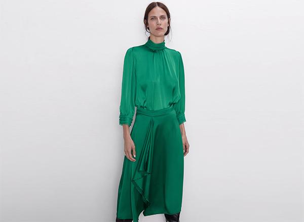 fusta verde smarald Zara