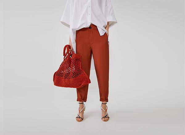 pantaloni cu manseta Zara