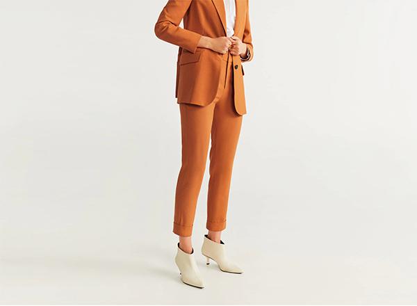pantaloni drepti de costum Mango