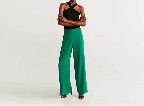 pantaloni largi verde smarald Mango