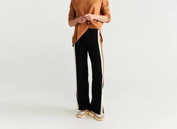 pantaloni negri cu vipusca colorata Mango