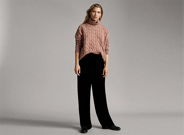 pantaloni negri din catifea Massimo Dutti
