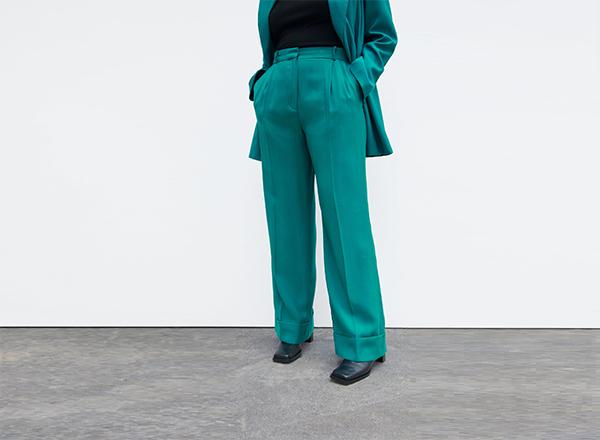 pantaloni turcoaz inchis cu mansete Zara