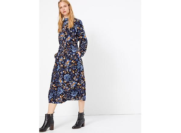 rochie albastra cu flori M&S