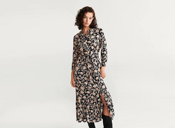 rochie camasa cu print floral Mango
