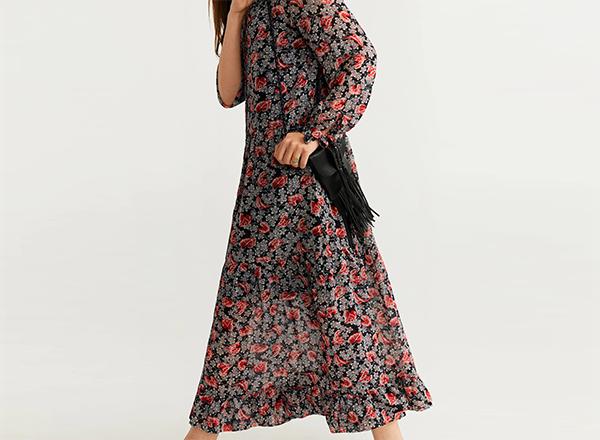 rochie casual larga cu flori Mango