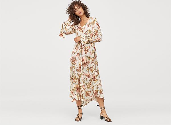 rochie cu flori ruginii H&M