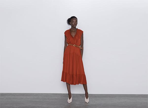 rochie cu volane Zara