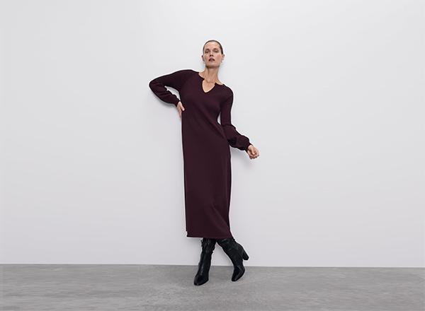 rochie grena cu maneci bufante Zara