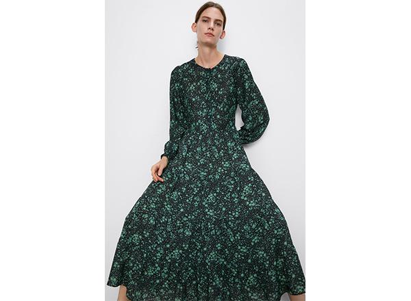rochie larga cu flori verde smarald Zara
