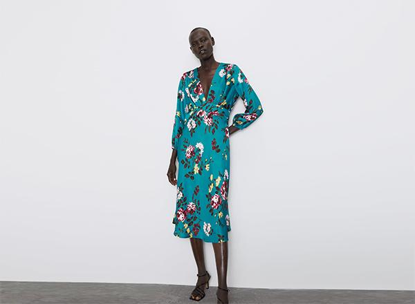 rochie midi turcoaz Zara